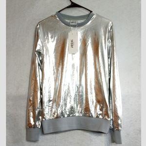 Jogal NWT metallic silver retro 70's shiny top S